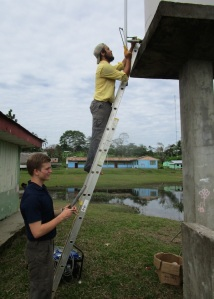 Dylan and Alex working on the water tower (or so pretending).